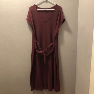 Short Sleeved V Neck Dress